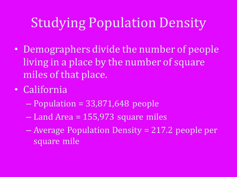 Studying Population Density