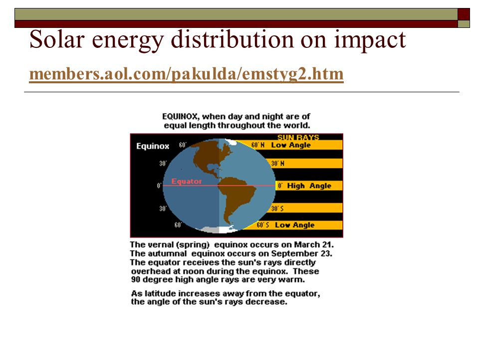 Solar energy distribution on impact members. aol. com/pakulda/emstyg2
