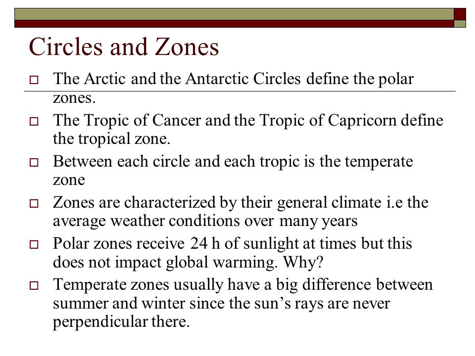 Circles and Zones The Arctic and the Antarctic Circles define the polar zones.