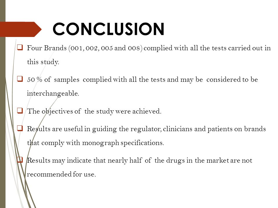 CONCLUSION Four Brands (001, 002, 005 and 008) complied with all the tests carried out in this study.