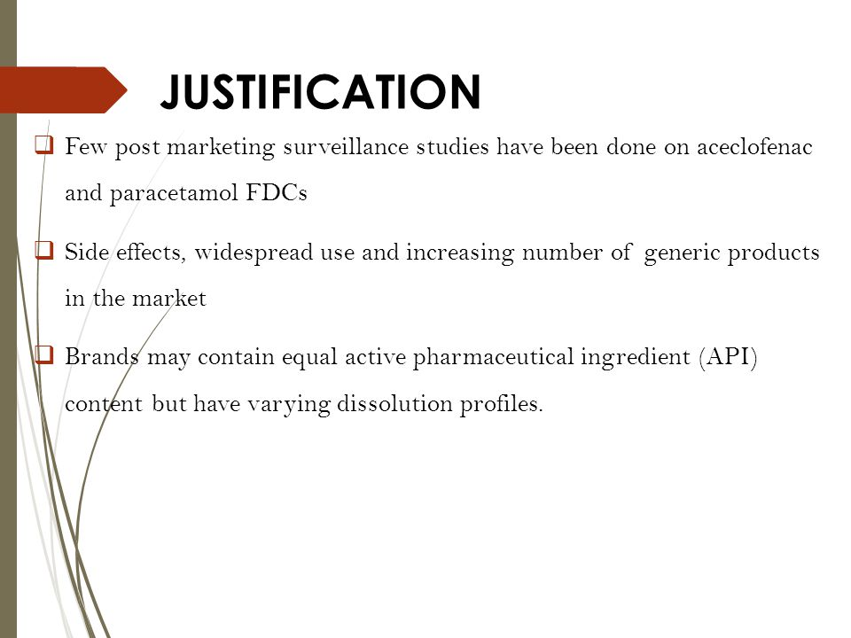 JUSTIFICATION Few post marketing surveillance studies have been done on aceclofenac and paracetamol FDCs.