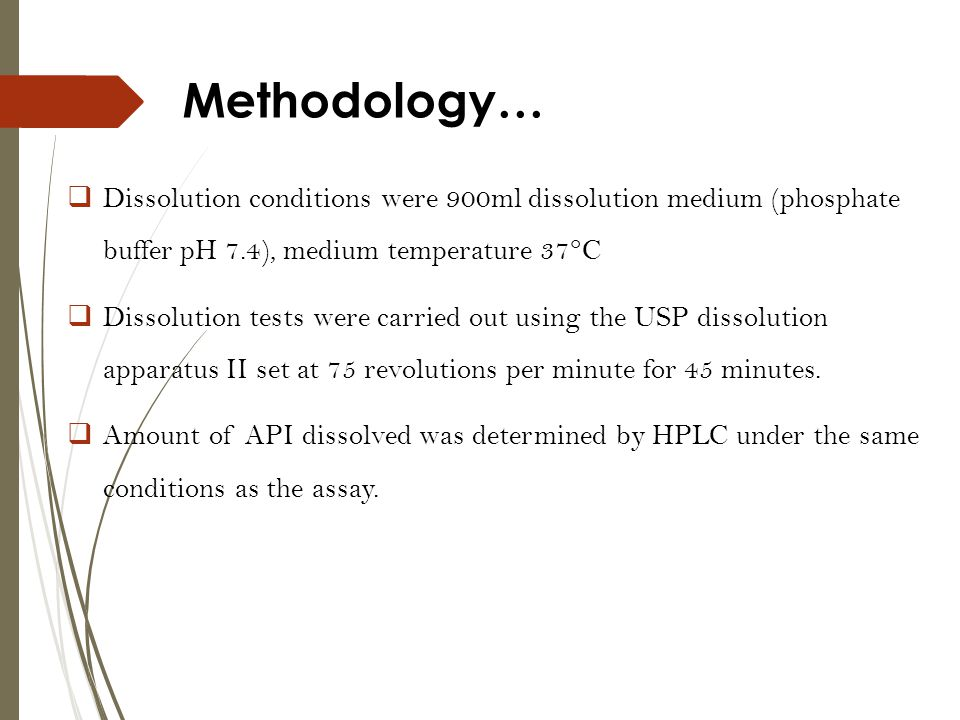 Methodology… Dissolution conditions were 900ml dissolution medium (phosphate buffer pH 7.4), medium temperature 37°C.
