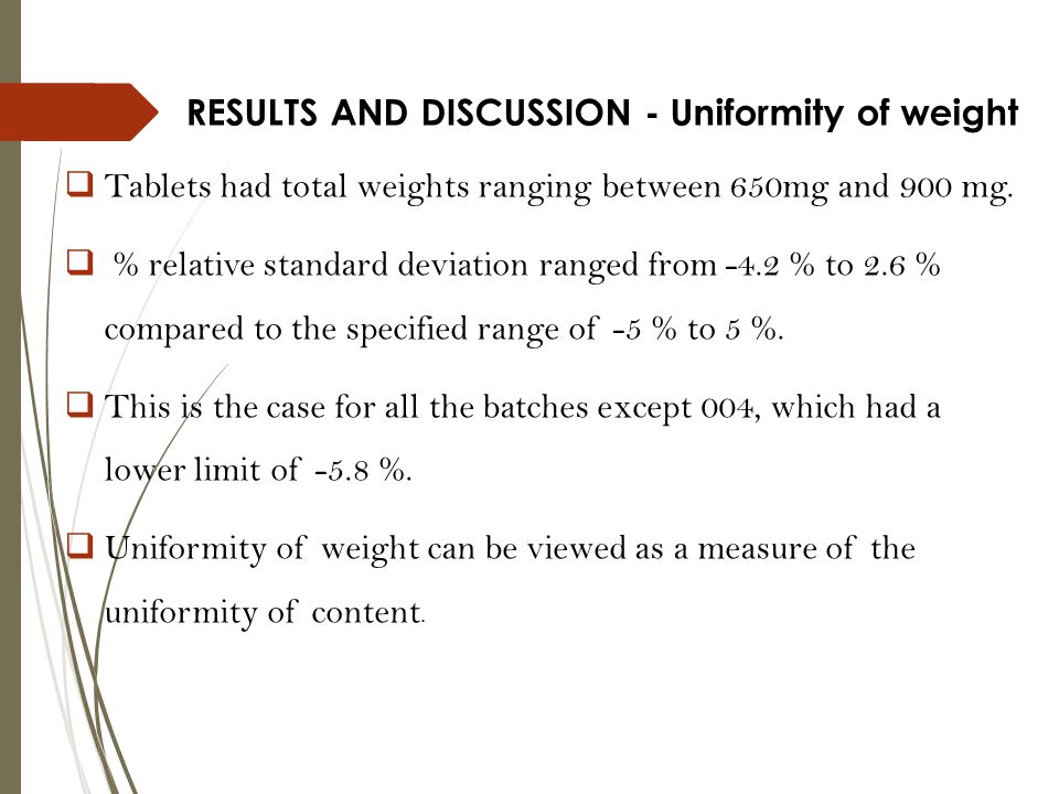 RESULTS AND DISCUSSION - Uniformity of weight