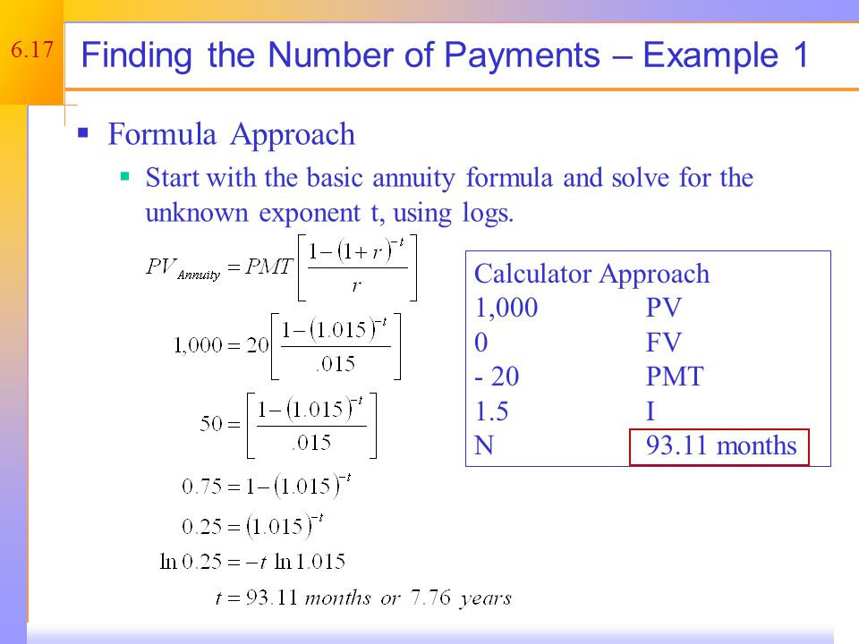 Finding the Number of Payments – Example 2