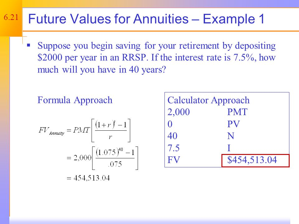 Annuity Due – Example 1