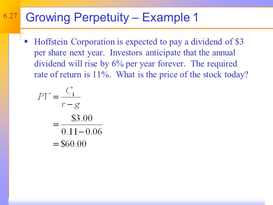 Growing Annuity Growing annuities have a finite number of cash flows, which grow at a constant rate.