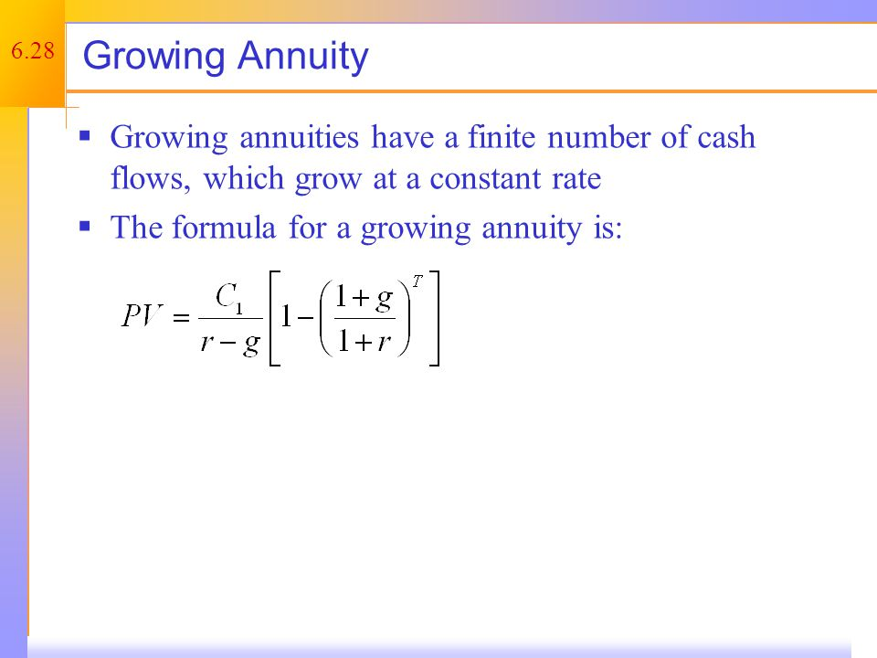 Growing Annuity – Example 1