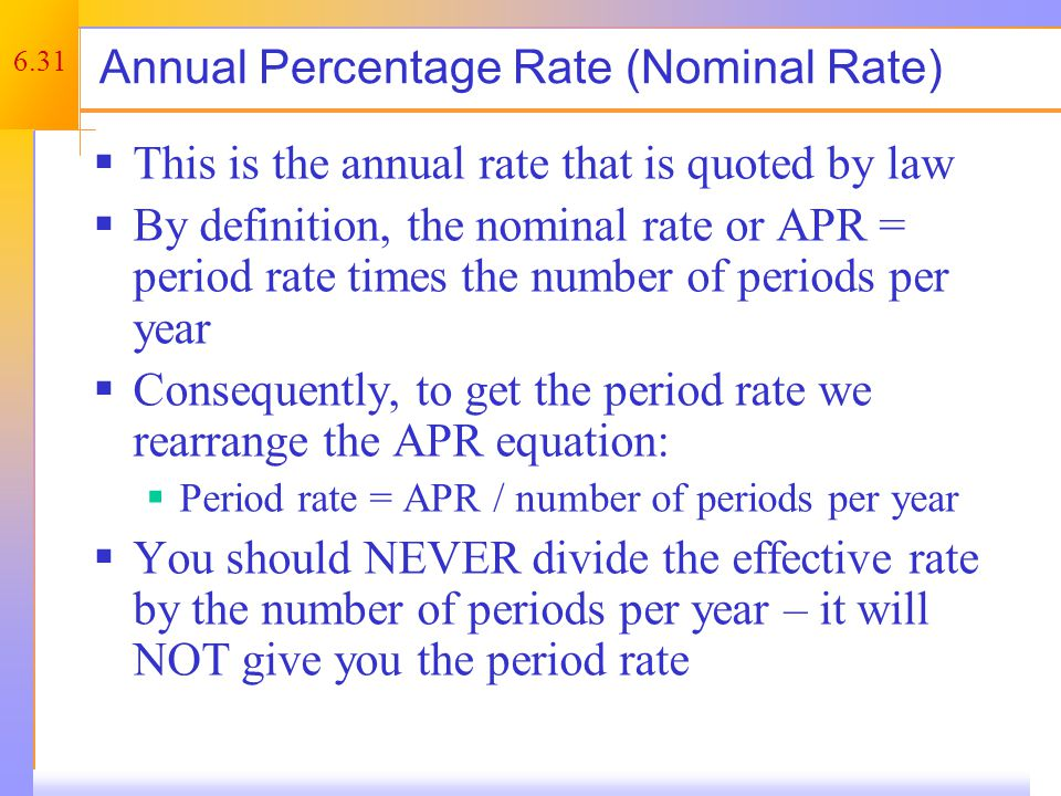 Computing APRs (Nominal Interest Rate)