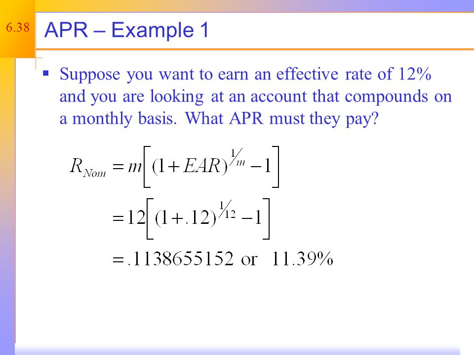 Computing Payments with APRs – Example 1