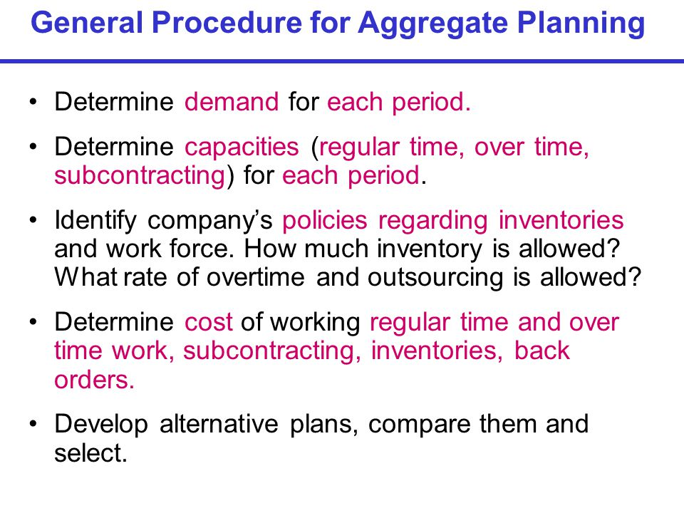 General Procedure for Aggregate Planning