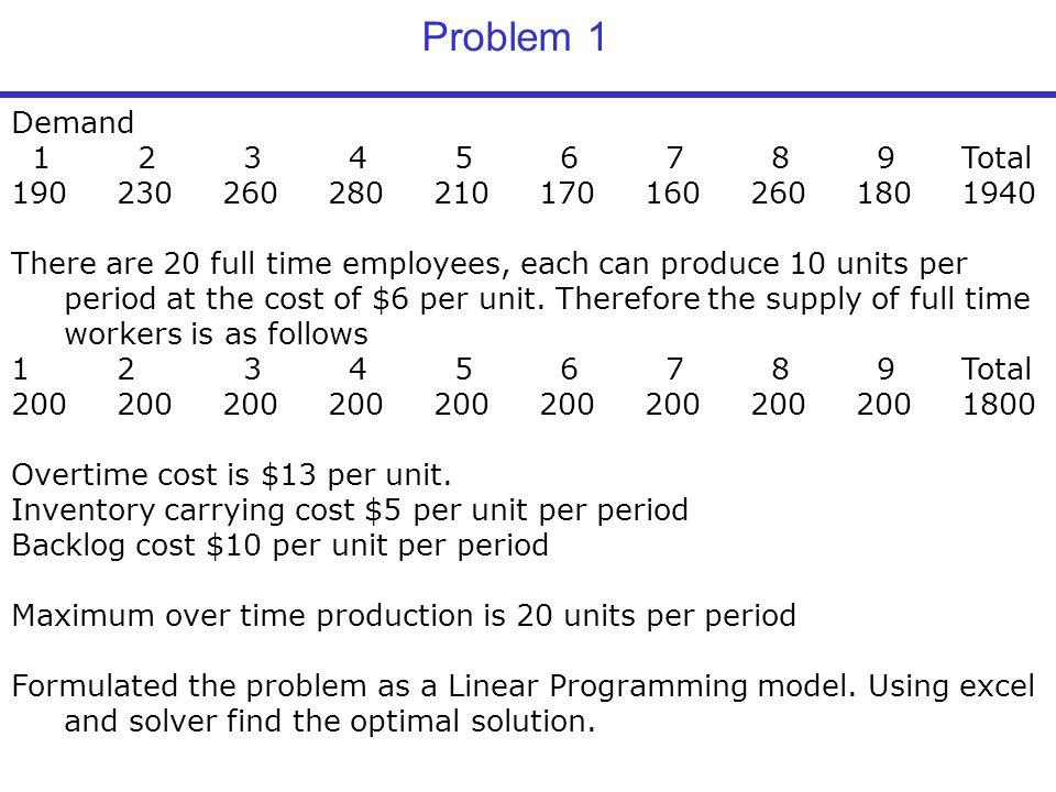 Problem 1 Demand. 1 2 3 4 5 6 7 8 9 Total. 190 230 260 280 210 170 160 260 180 1940.