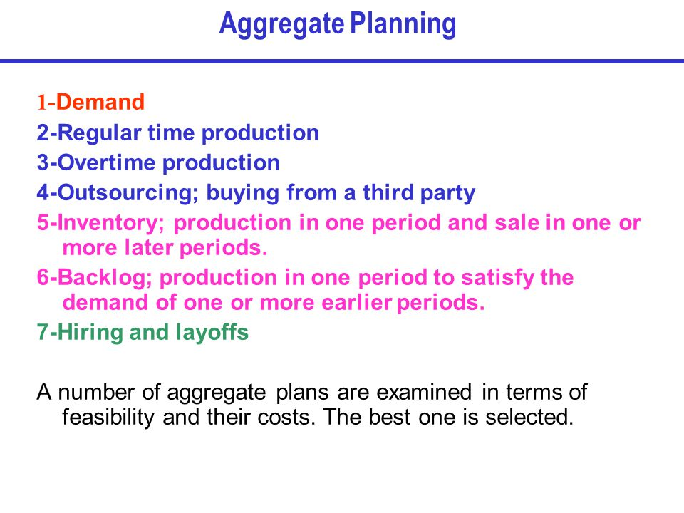 Aggregate Planning 1-Demand 2-Regular time production