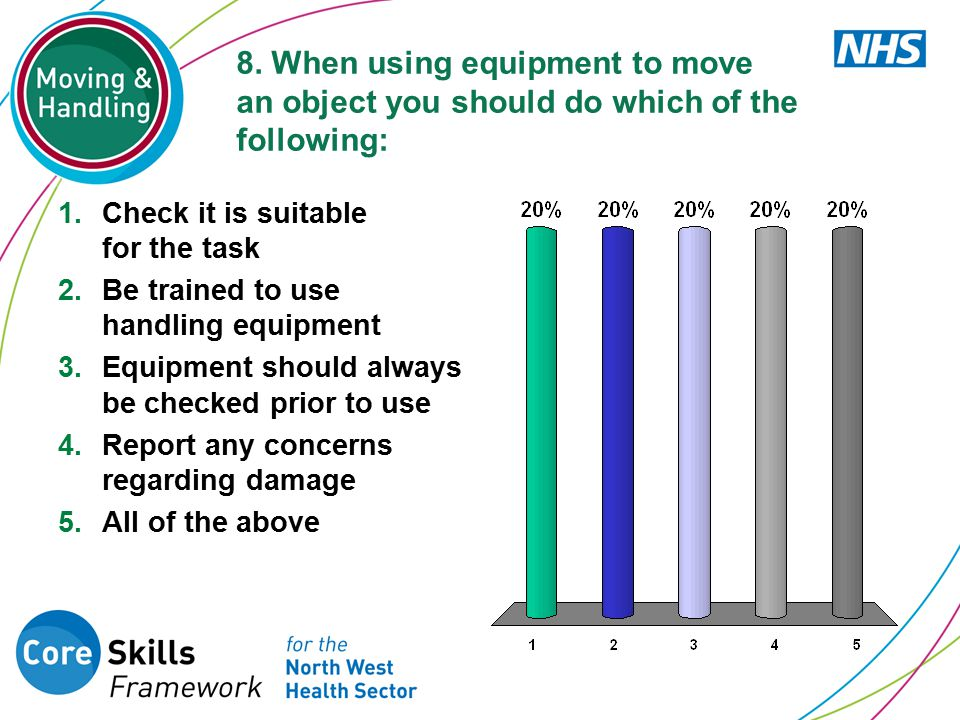 8. When using equipment to move an object you should do which of the following: