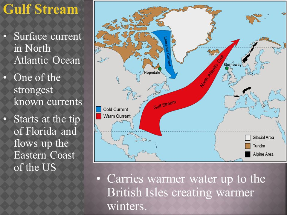 Gulf Stream Surface current in North Atlantic Ocean. One of the strongest known currents.