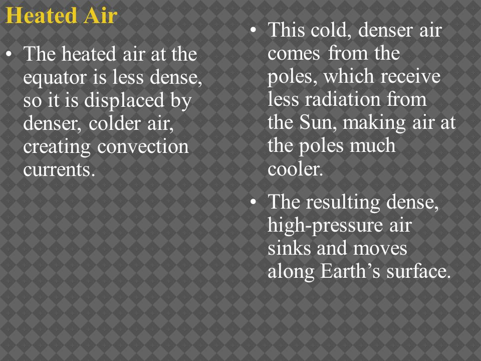 Heated Air This cold, denser air comes from the poles, which receive less radiation from the Sun, making air at the poles much cooler.