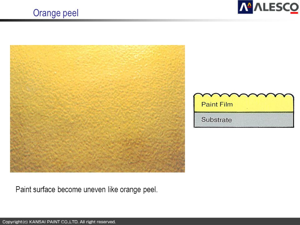 Orange peel Paint surface become uneven like orange peel.