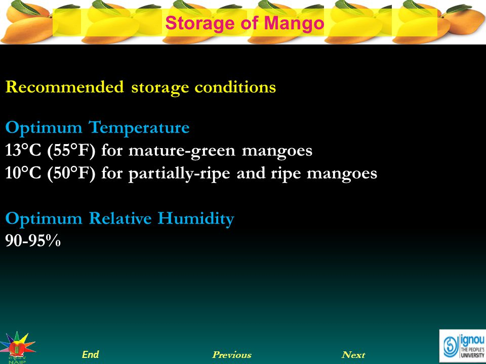 Recommended storage conditions