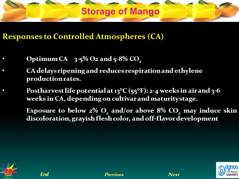 Responses to Controlled Atmospheres (CA)