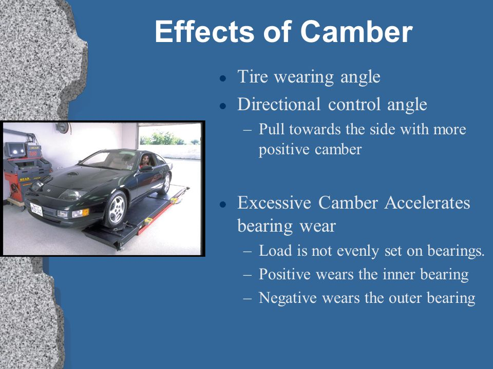 Effects of Camber Tire wearing angle Directional control angle