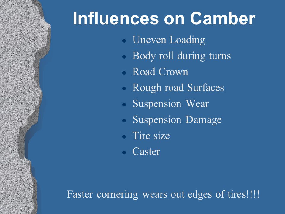 Influences on Camber Uneven Loading Body roll during turns Road Crown