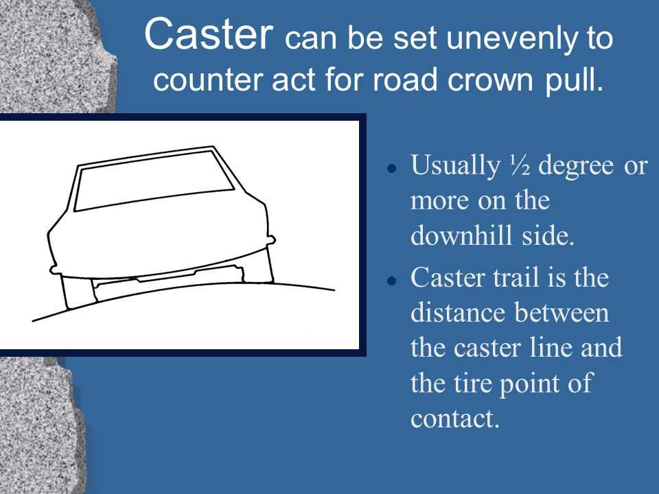 Caster can be set unevenly to counter act for road crown pull.