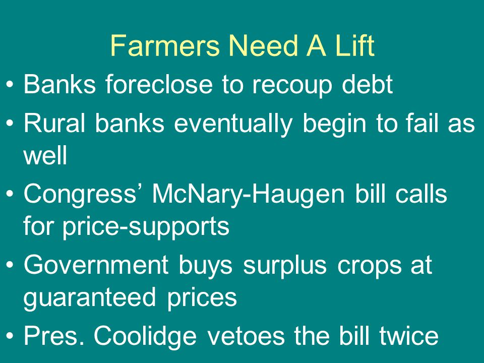 Farmers Need A Lift Banks foreclose to recoup debt