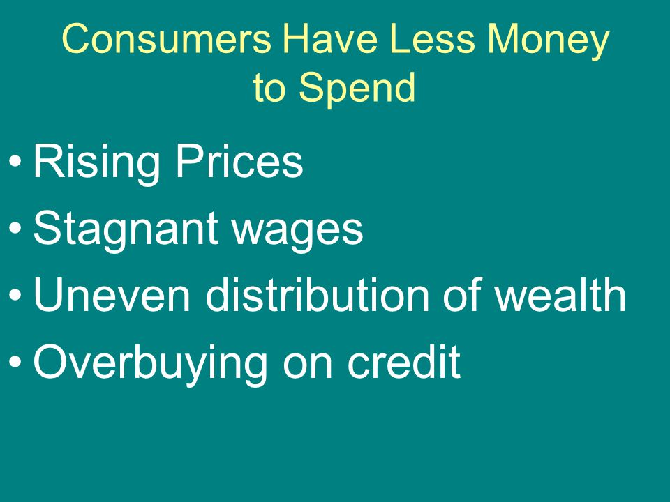 Consumers Have Less Money to Spend