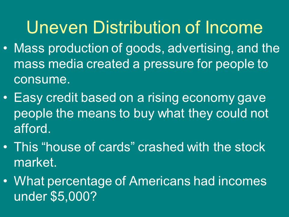 Uneven Distribution of Income