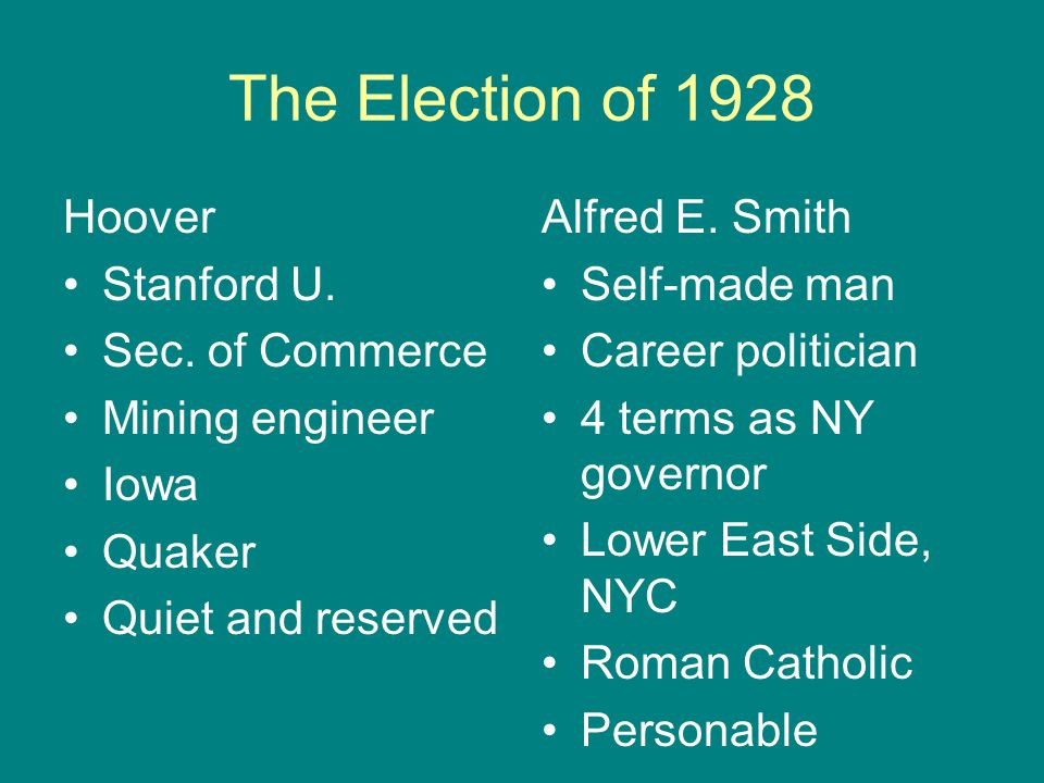 The Election of 1928 Hoover Stanford U. Sec. of Commerce