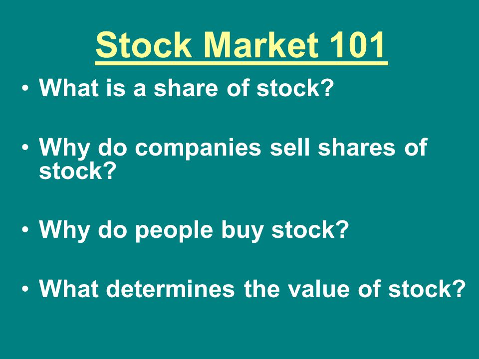 Stock Market 101 What is a share of stock