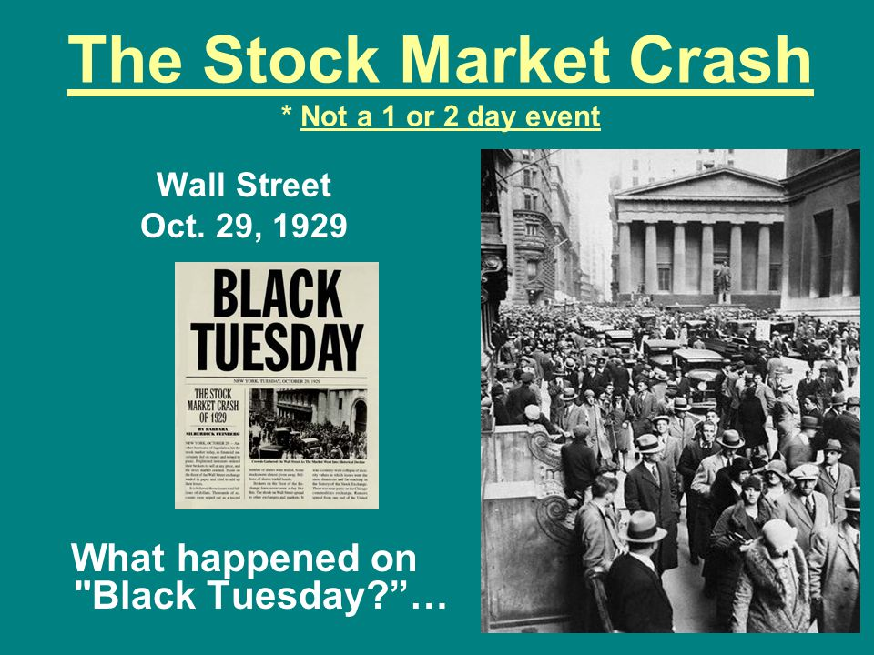 The Stock Market Crash * Not a 1 or 2 day event