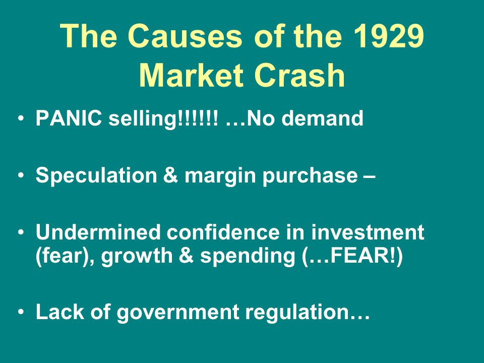 The Causes of the 1929 Market Crash