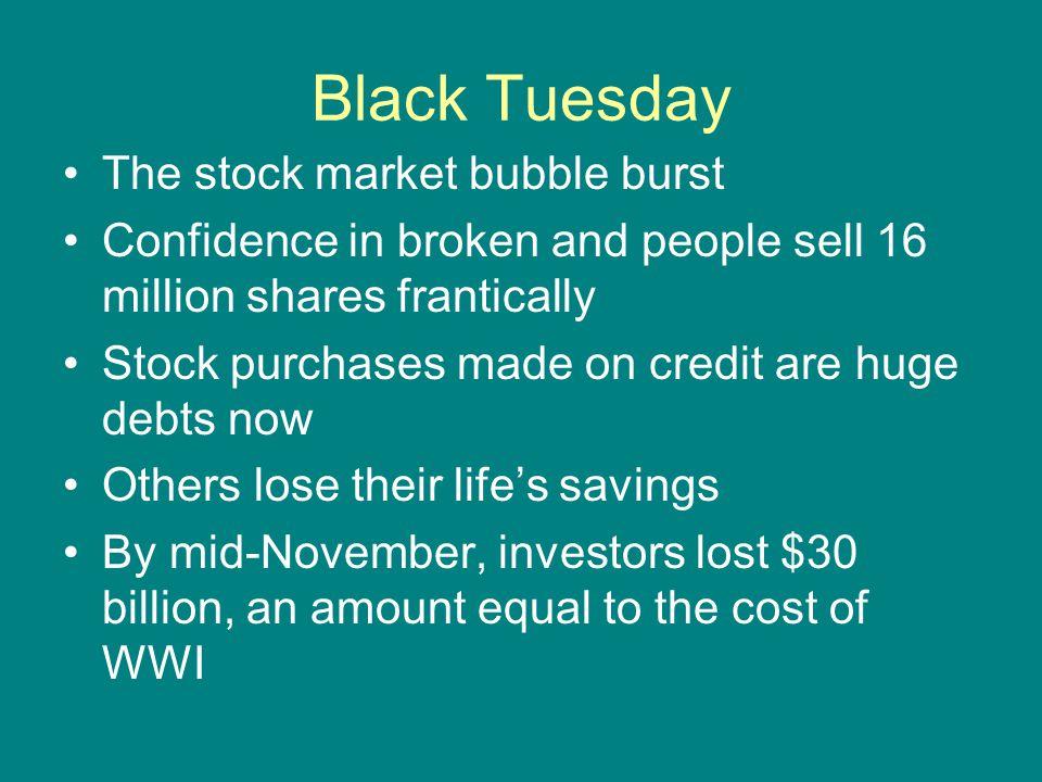 Black Tuesday The stock market bubble burst