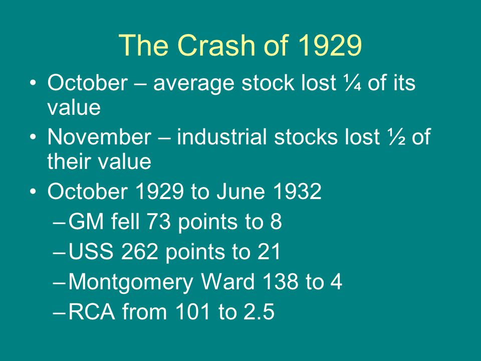 The Crash of 1929 October – average stock lost ¼ of its value