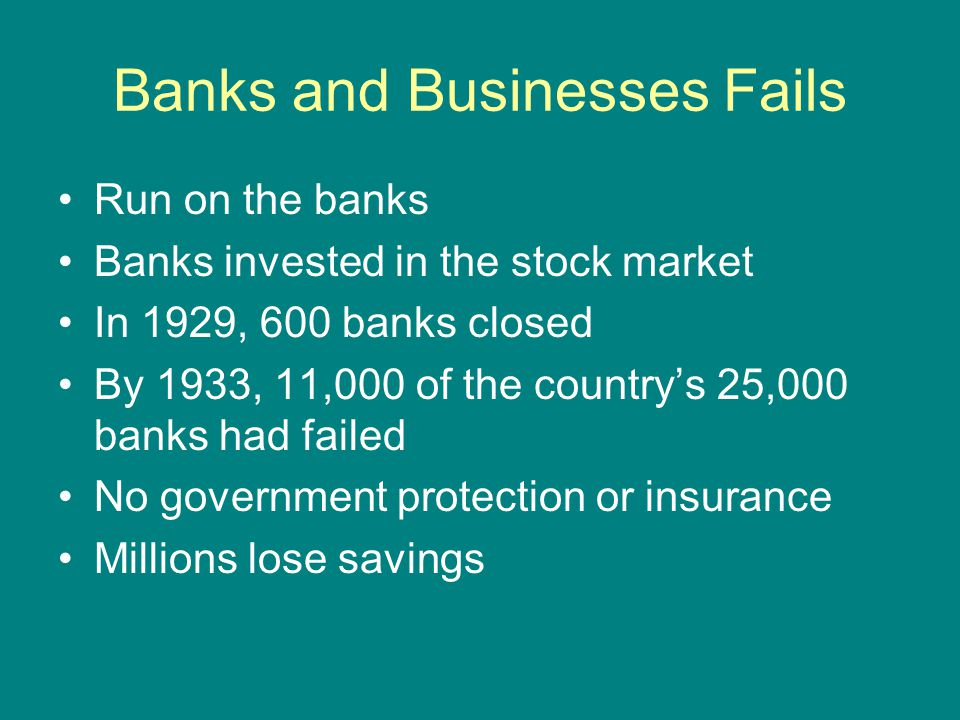 Banks and Businesses Fails