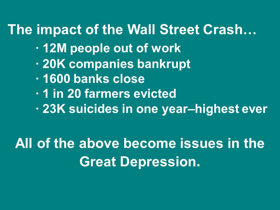 All of the above become issues in the Great Depression.