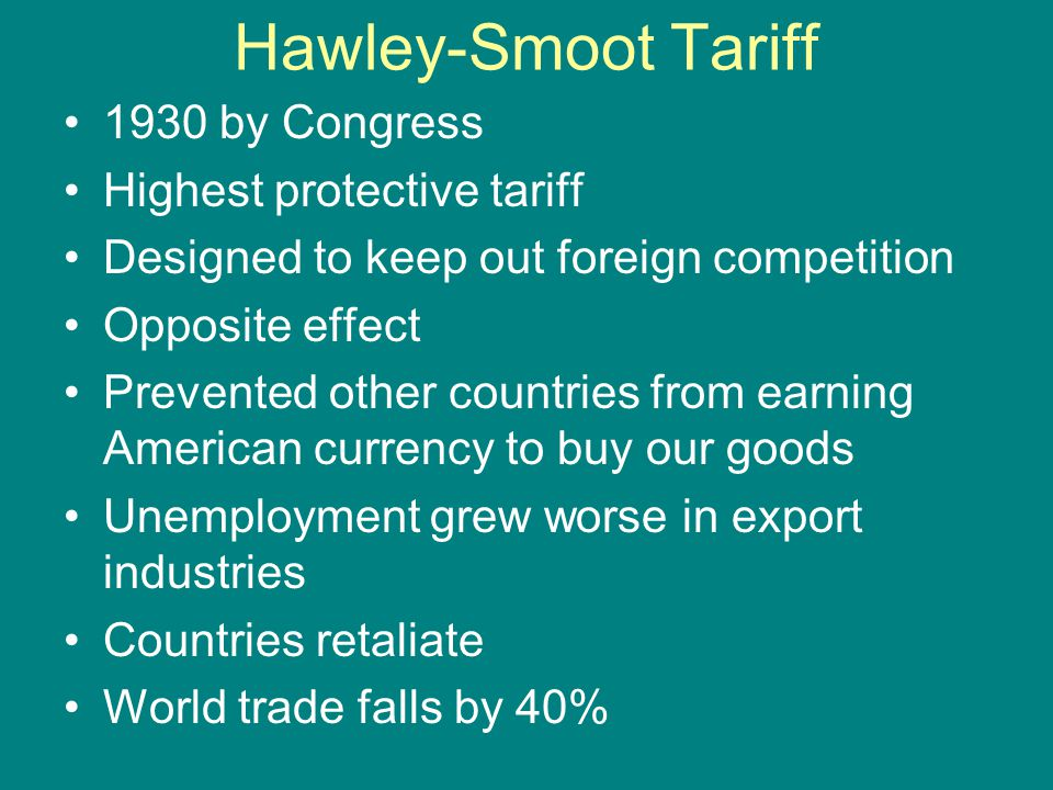Hawley-Smoot Tariff 1930 by Congress Highest protective tariff
