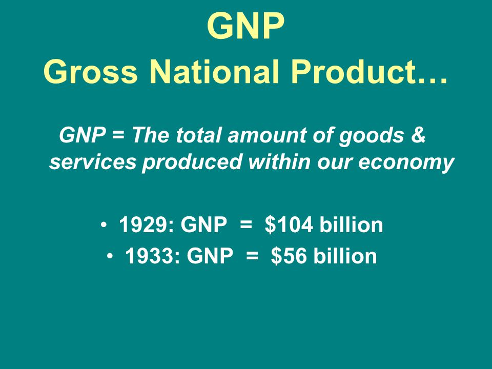 GNP Gross National Product…