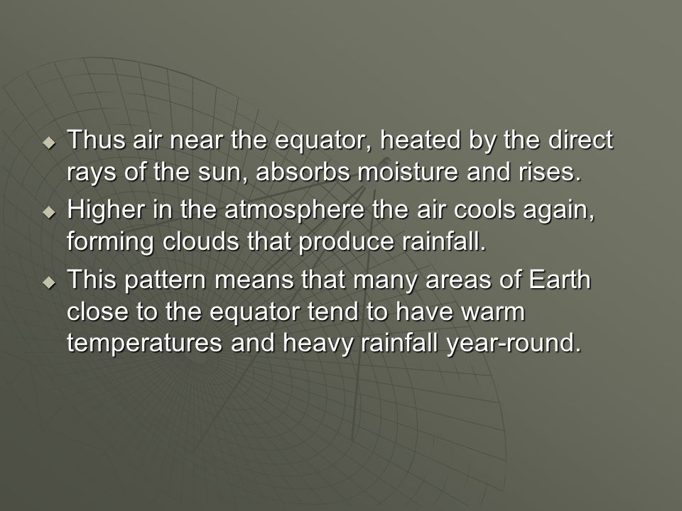 Thus air near the equator, heated by the direct rays of the sun, absorbs moisture and rises.