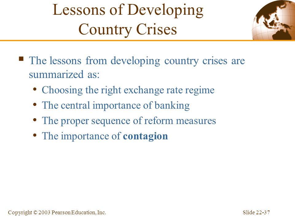 Lessons of Developing Country Crises