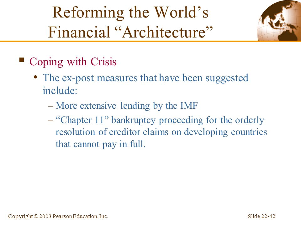 Reforming the World's Financial Architecture