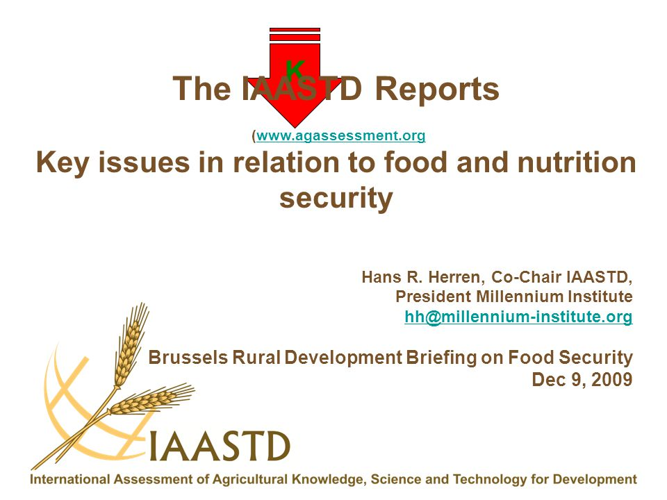 Key issues in relation to food and nutrition security
