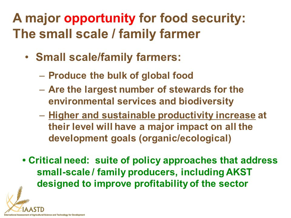 A major opportunity for food security: The small scale / family farmer