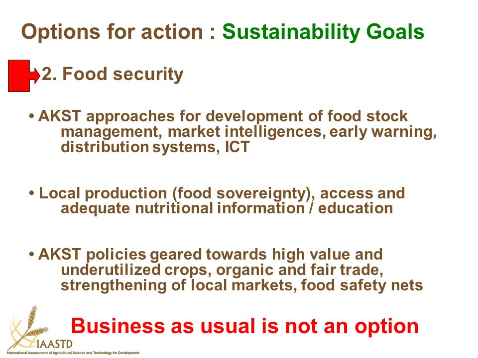 Options for action : Sustainability Goals
