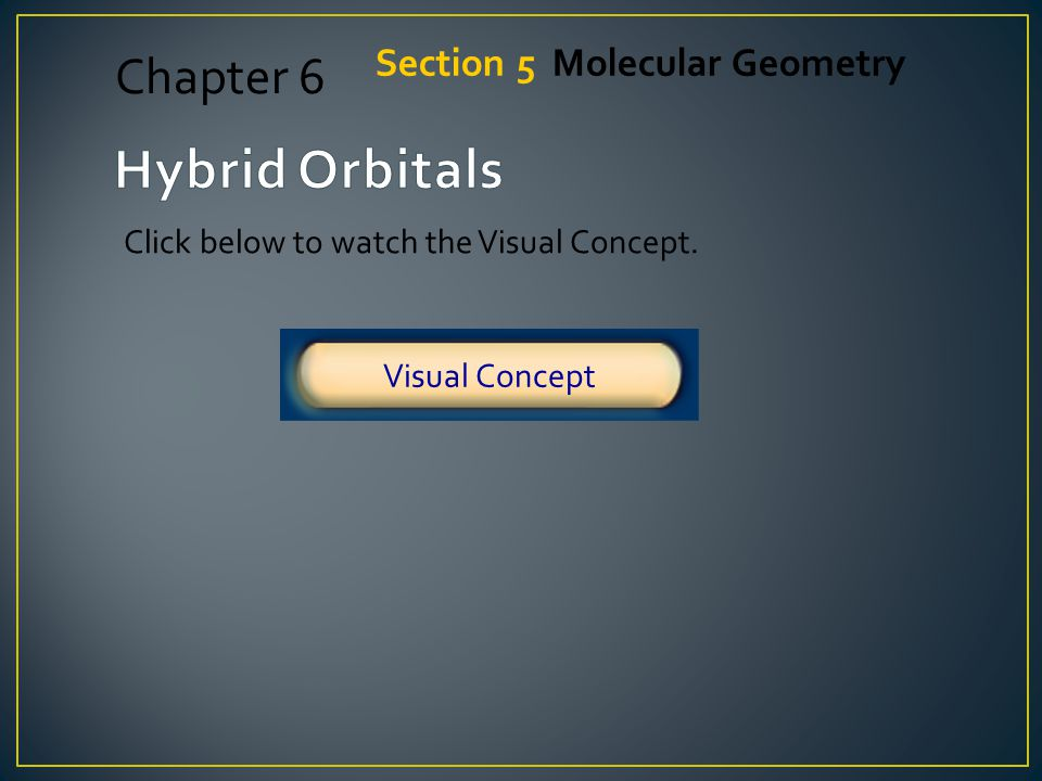 Hybrid Orbitals Chapter 6 Section 5 Molecular Geometry