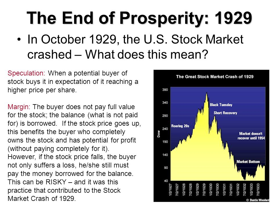 The End of Prosperity: 1929 In October 1929, the U.S. Stock Market crashed – What does this mean