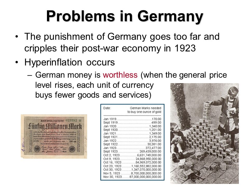 Problems in Germany The punishment of Germany goes too far and cripples their post-war economy in 1923.