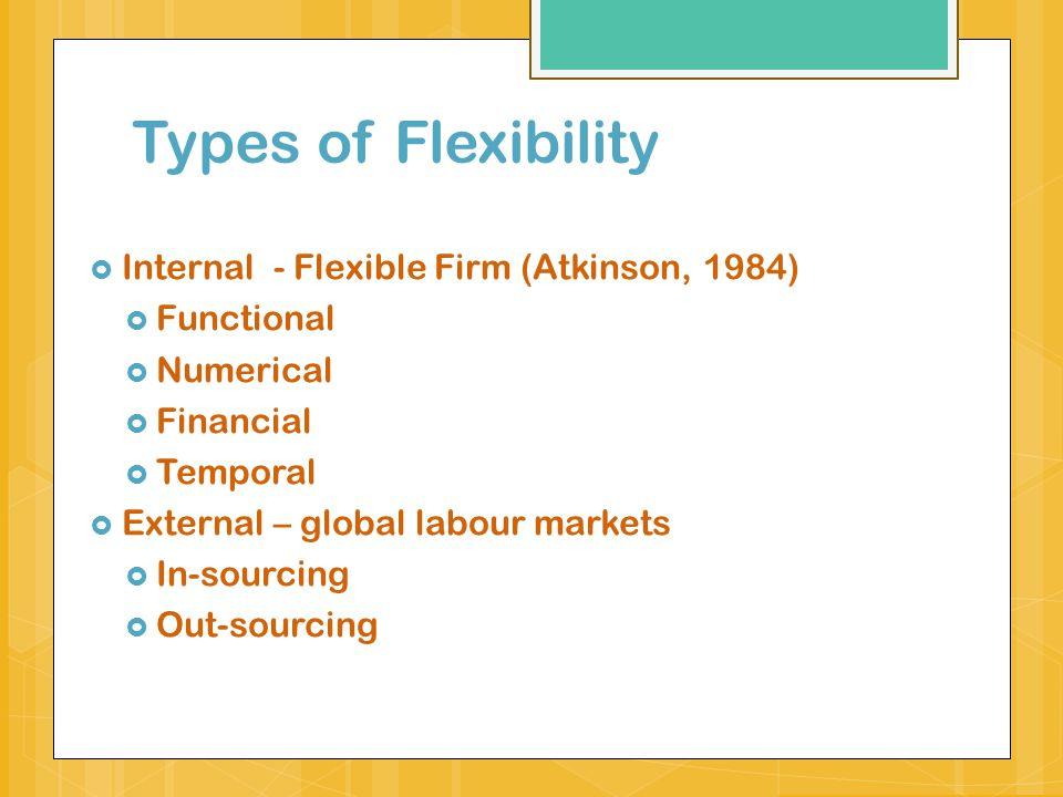Types of Flexibility Internal - Flexible Firm (Atkinson, 1984)