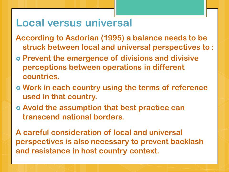 Local versus universal