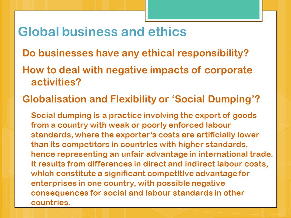 Global business and ethics